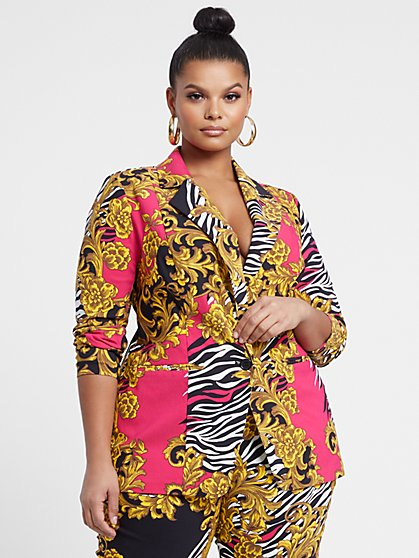 Plus Size Millennium City Blazer in Zebra Scroll Print - Fashion To Figure