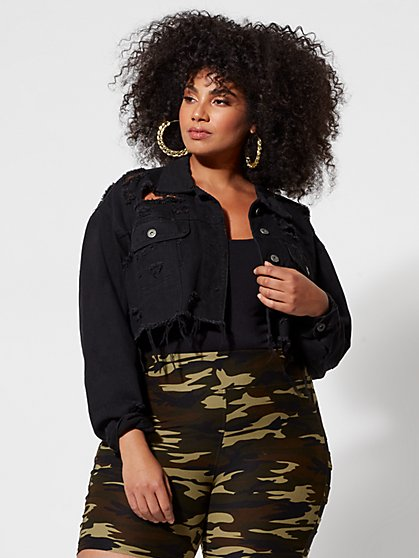 Plus Size Milly Destructed Crop Trucker Jacket - Fashion To Figure