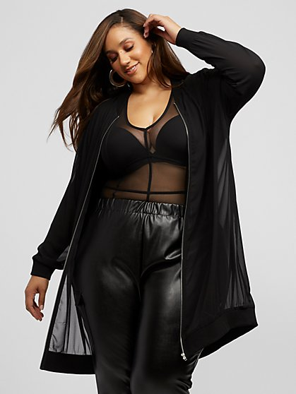 Plus Size Mirabelle Sheer Long Bomber Jacket - Fashion To Figure