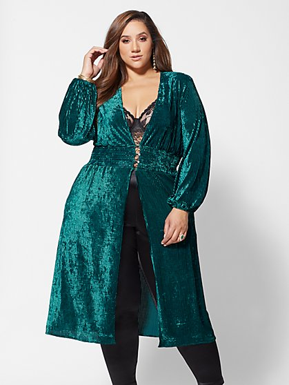 Plus Size Miranda Striped Velvet Duster - Fashion To Figure
