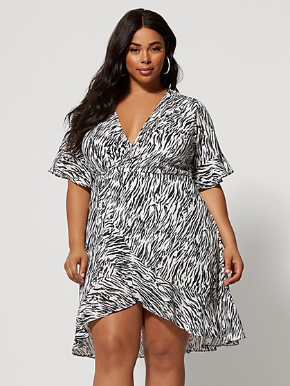 Plus Size Mireya Zebra Print Wrap Dress - Fashion To Figure