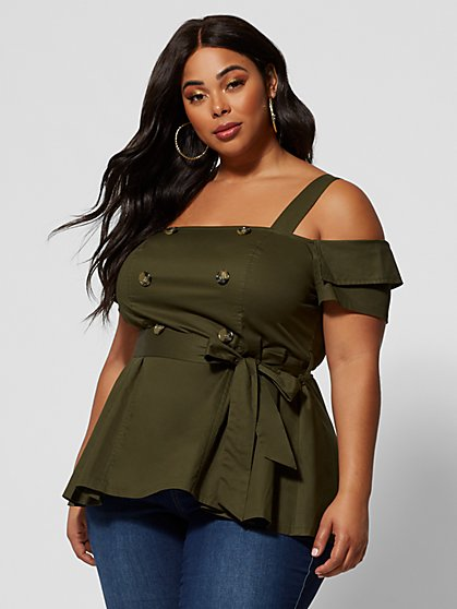 Plus Size Mischa Cold Shoulder Utility Tunic - Fashion To Figure