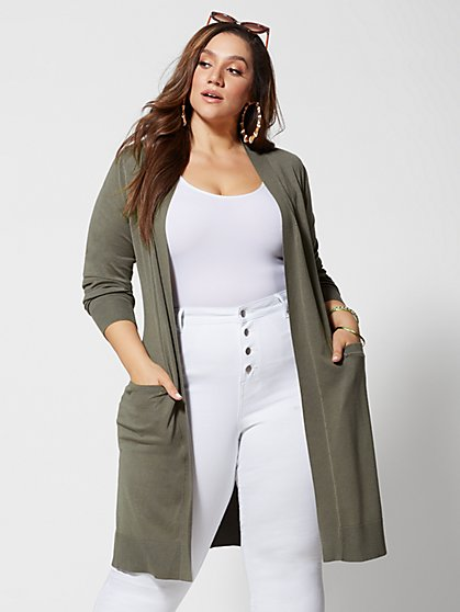 6b6028fc80a Plus Size Mischa Long Knit Cardigan - Fashion To Figure ...