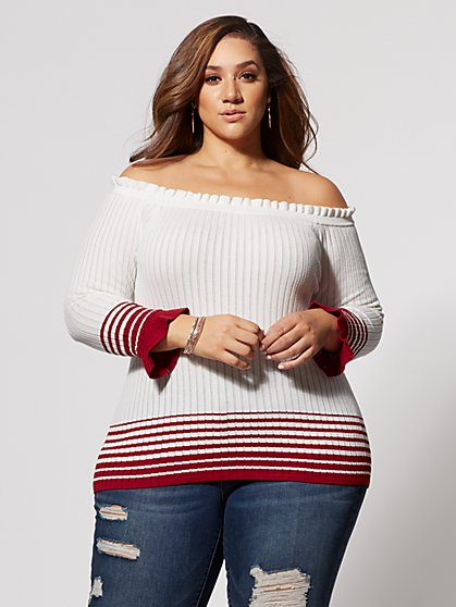 Plus Size Misty Off-Shoulder Sweater - Fashion To Figure