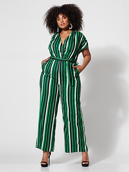 Plus Size Misty Striped Belted Jumpsuit - Fashion To Figure