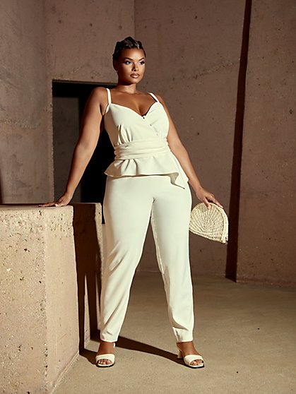 Plus Size Molly Bow Wrap Jumpsuit - Fashion To Figure