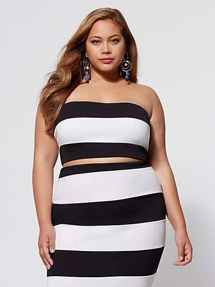 Plus Size Monica Striped Crop Top - Fashion To Figure