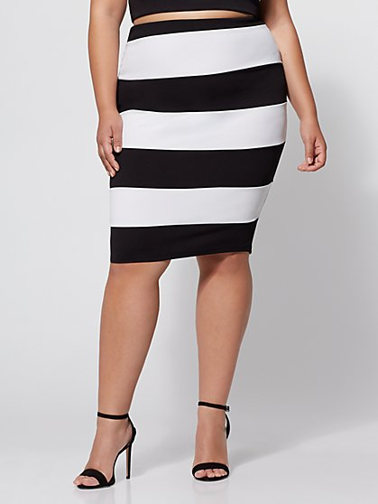 Plus Size Monica Striped Pencil Skirt - Fashion To Figure