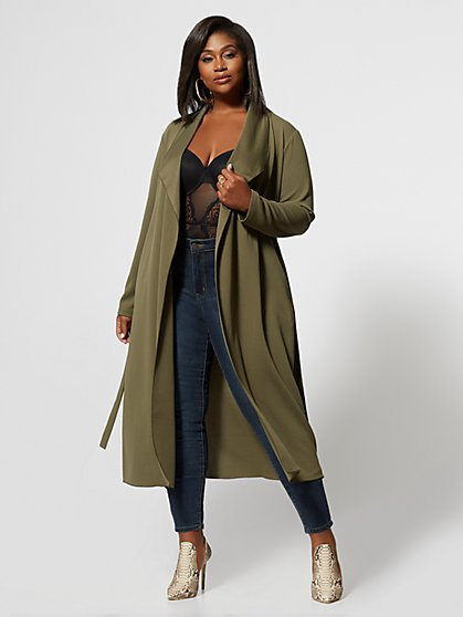 Plus Size Monique Belted Duster - Fashion To Figure