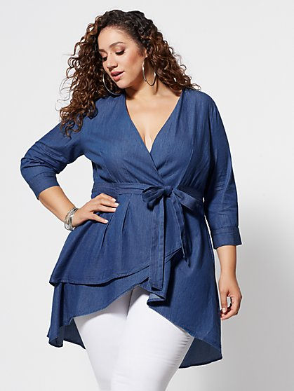 Plus Size Monroe Denim Tie-Waist Hi-Lo Top - Fashion To Figure