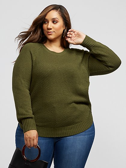 Plus Size Monroe Olive Side-Zip Sweater - Fashion To Figure