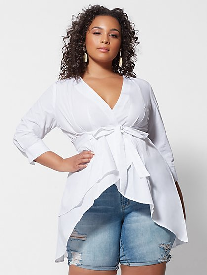 Plus Size Monroe White Tie-Waist Hi-Lo Top - Fashion To Figure