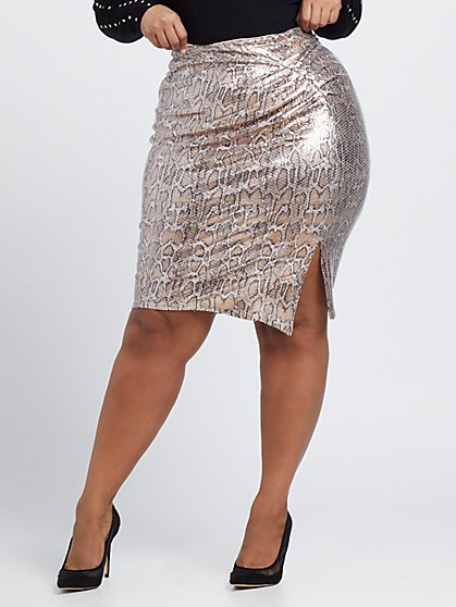 Plus Size Morgan Snake Print Sequin Pencil Skirt - Fashion To Figure