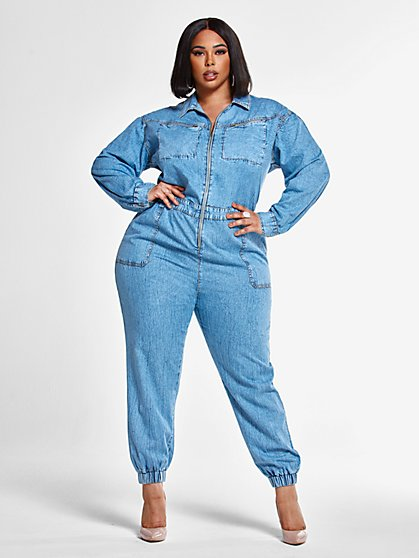 Plus Size Morgan Zip Front Utility Jumpsuit - Fashion To Figure