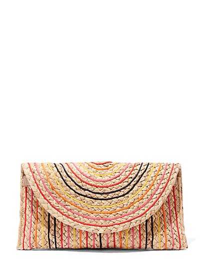 Plus Size Multi-Color Striped Straw Clutch - Fashion To Figure