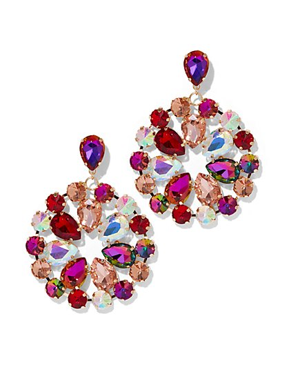 Plus Size Multicolor Rhinestone Earring - Fashion To Figure