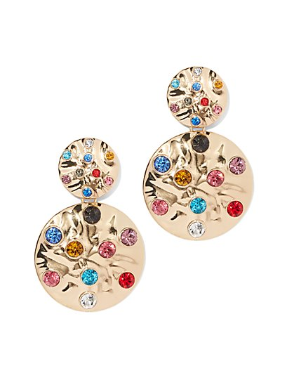 Plus Size Multicolored Rhinestone Drop Earring - Fashion To Figure