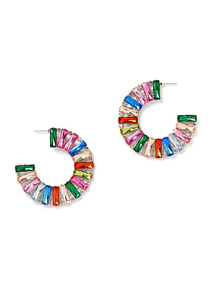 Plus Size Multicolored Rhinestone Hoop Earrings - Fashion To Figure