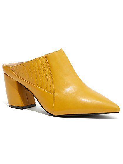Plus Size Mustard Pointed Toe Mule Pumps - Wide Width - Fashion To Figure