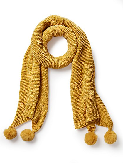 Plus Size Mustard Yellow Pom Pom Scarf - Fashion To Figure