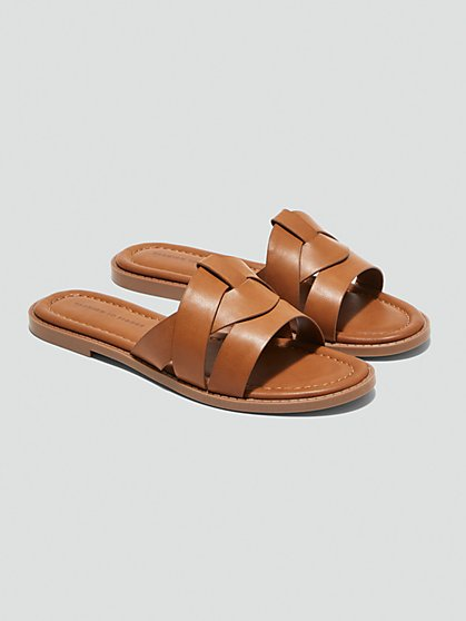 Plus Size Myla Vegan Faux Leather Flat Sandals - Fashion To Figure