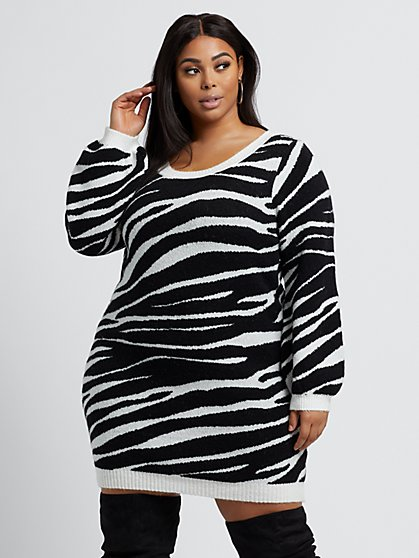 Plus Size Nahla Rae - Zebra Print Sweater Dress - Fashion To Figure