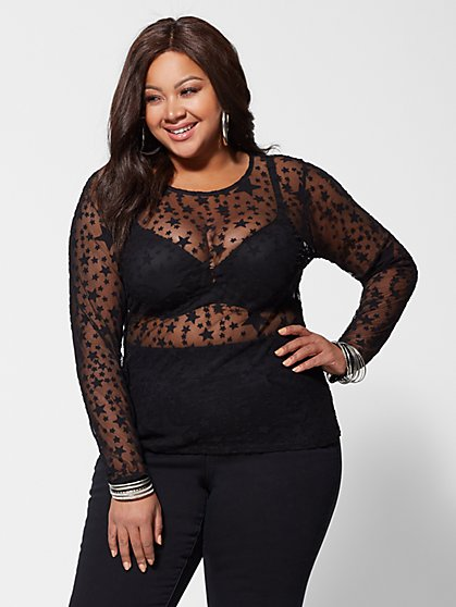 Plus Size Naimah Star-Print Mesh Top - Fashion To Figure