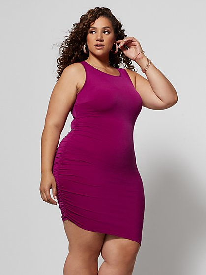 57f46edf96dc Plus Size Nanette Ruched Side Bodycon Dress - Fashion To Figure ...
