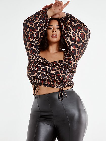 Plus Size Naomi Animal Print Ruched Blouse - Fashion To Figure