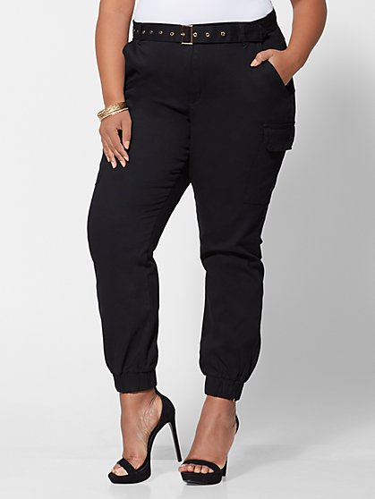 Plus Size Naomi Belted Cargo Jogger Pants - Fashion To Figure