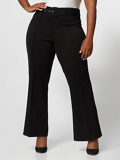 Plus Size Naomi Covered Belt Flare Pant - Fashion To Figure