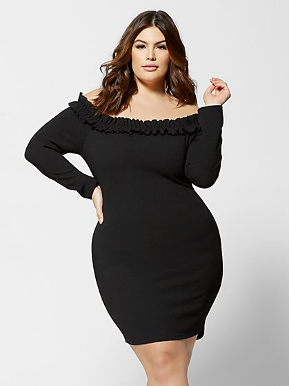 Plus Size Natalia Off Shoulder Bodycon Dress - Fashion To Figure