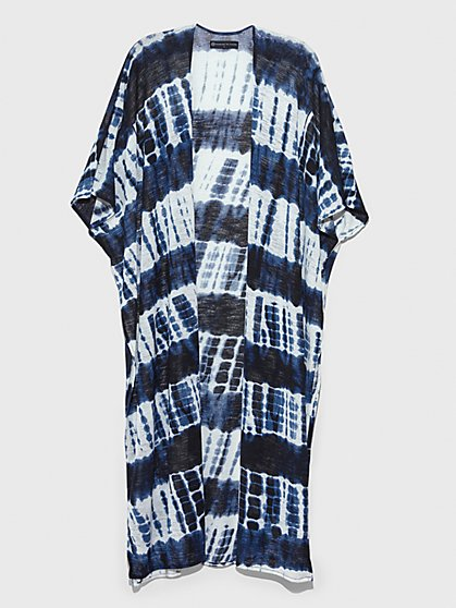 Plus Size Natalia Stripe Tie Dye Kimono - Fashion To Figure
