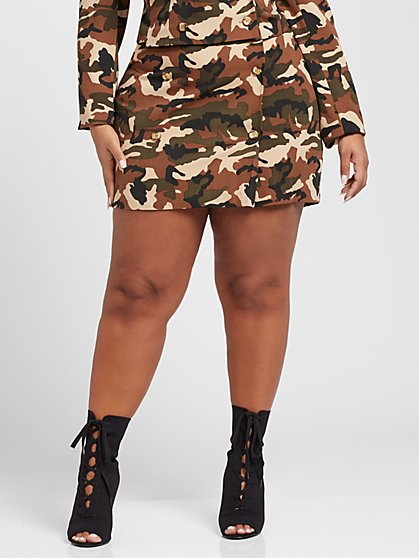 Plus Size Natalie Camo Mini Skirt - Gabrielle Union x FTF - Fashion To Figure