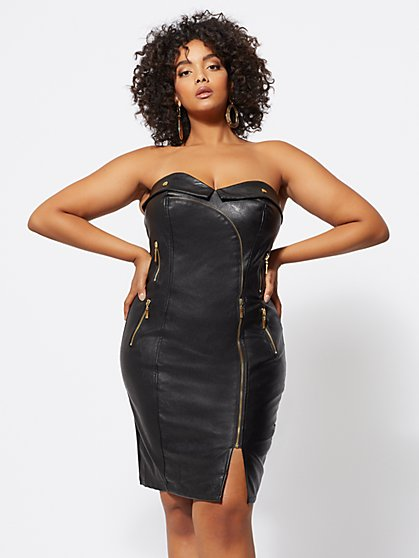 Plus Size Natalie Faux-Leather Bodycon Dress - Fashion To Figure
