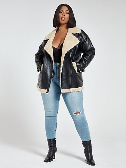 Plus Size Natalie Sherpa Oversized Bomber Jacket - Fashion To Figure