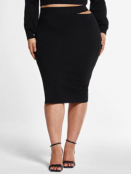 Plus Size Natalie Skirt with High Slit - Fashion To Figure