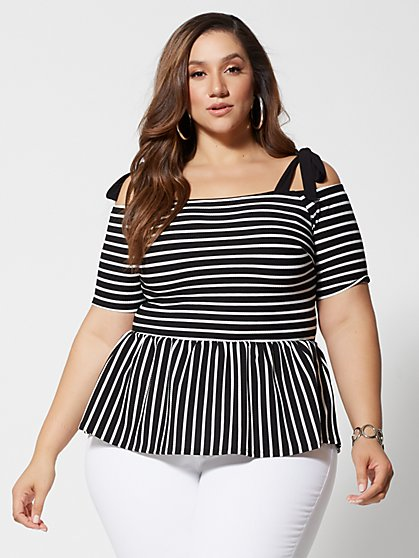 Plus Size Natalie Stripe Bow Shoulder Peplum Top - Fashion To Figure