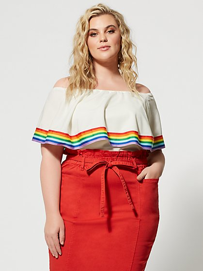 Plus Size Natalya Off Shoulder Rainbow Trim Top - Fashion To Figure