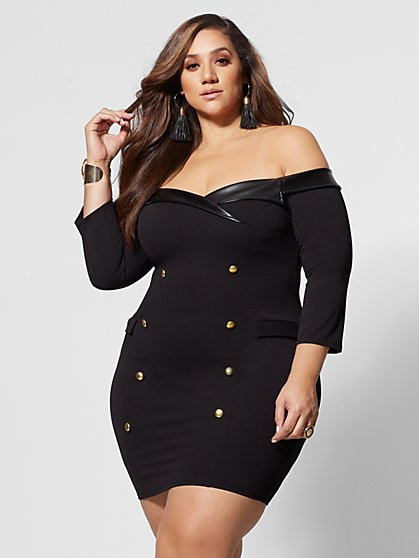 Plus Size Natasha Off-Shoulder Bodycon Dress - Fashion To Figure