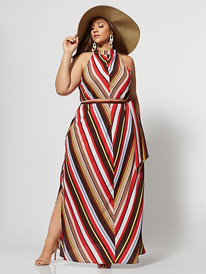 Plus Size Nathania Chevron Print Maxi - Fashion To Figure