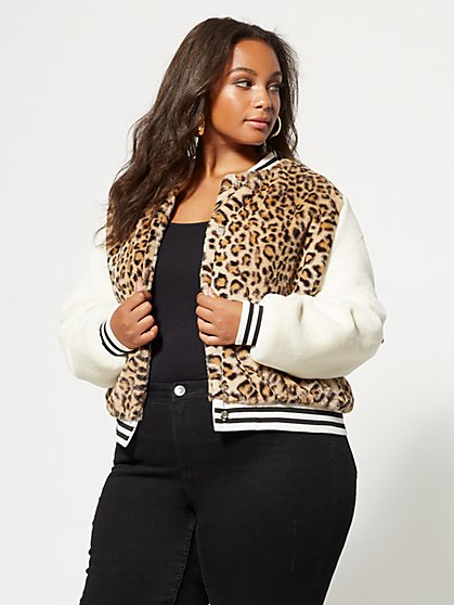 Plus Size Naya Cheetah Bomber Jacket - Fashion To Figure