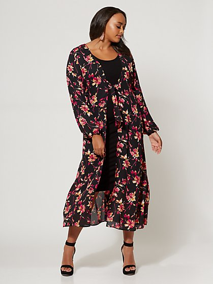 Plus Size Naya Floral Duster - Fashion To Figure