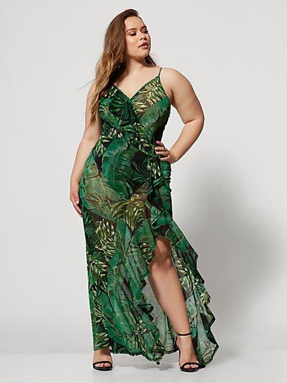 67def7e2 ... Plus Size Nealla Palm Print Maxi Dress - Fashion To Figure ...