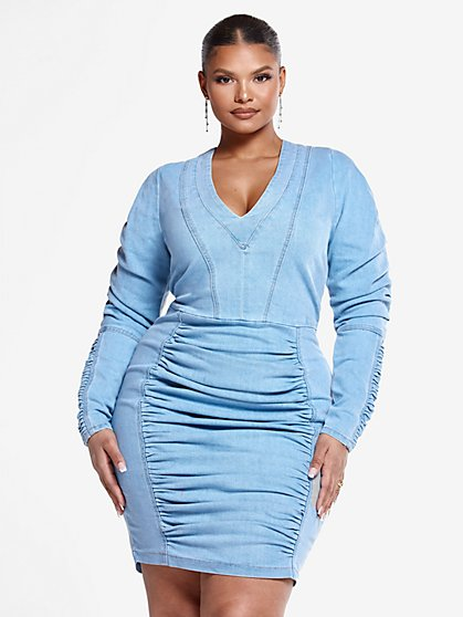 Plus Size Nelle Ruched Denim Dress - Fashion To Figure