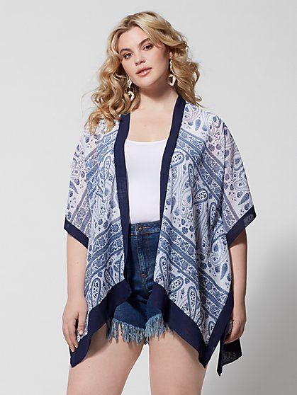 Plus Size Nellie Paisley Blue Kimono - Fashion To Figure