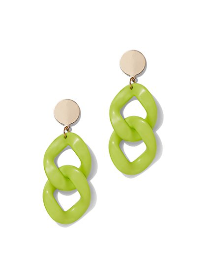 Plus Size Neon Green Drop Chain Earring - Fashion To Figure