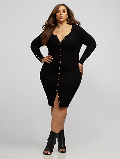 Plus Size Nerissa Button-Up Sweater Midi Dress - Fashion To Figure