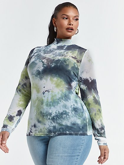 Plus Size Nessa Tie Dye Mesh Top - Fashion To Figure