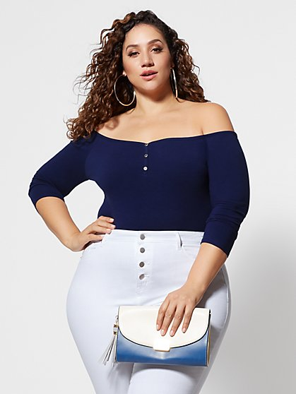 Plus Size Nia Off Shoulder Button Detail Bodysuit - Fashion To Figure